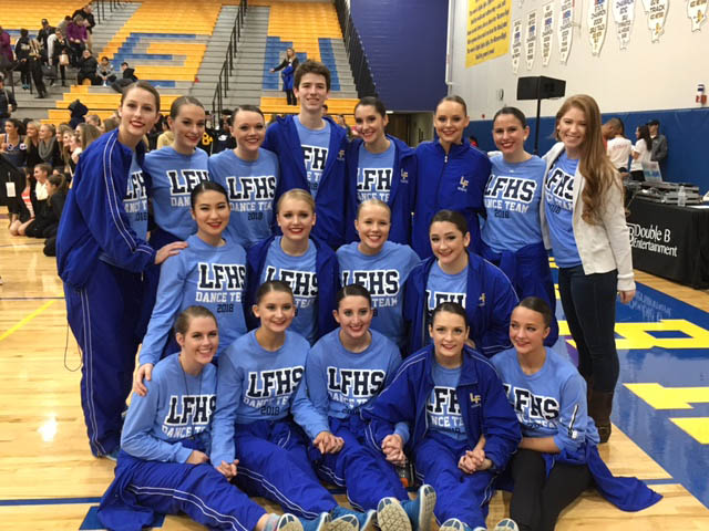 Varsity Dance Team pose for photo after placing second at Warren Invite.