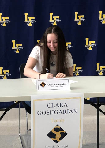 Clara Goshgarian signing letter of intent to play tennis at Smith College