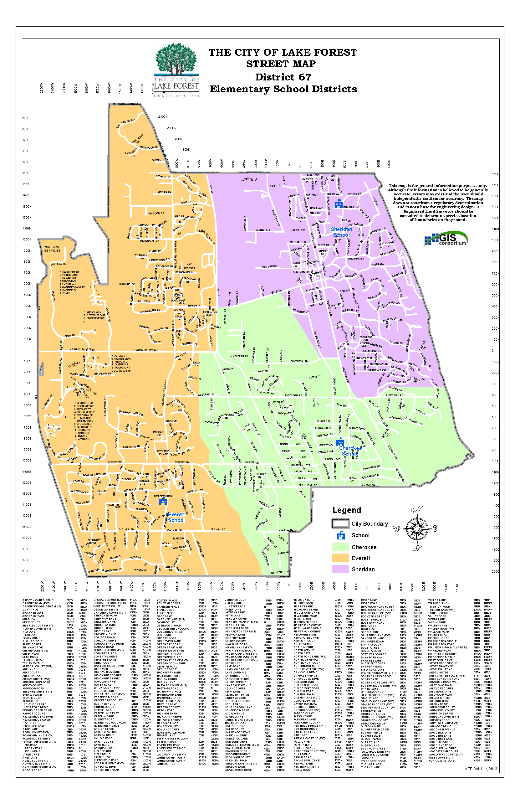 Boundary Map of Lake Forest School District 67